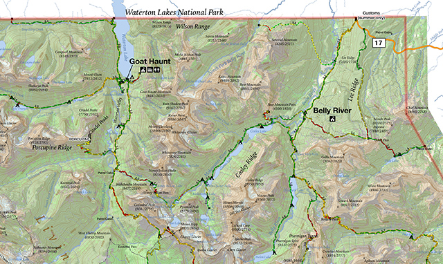 Glacier National Park Interactive Map Belly River: Glacier National Park Topographic Map At Slyspyder.com
